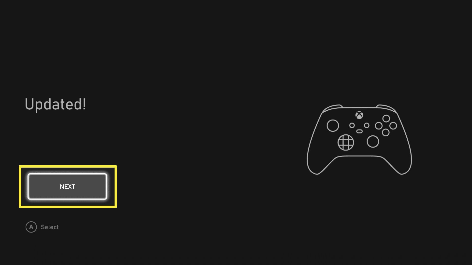 The Xbox Controller Updated dialogue box