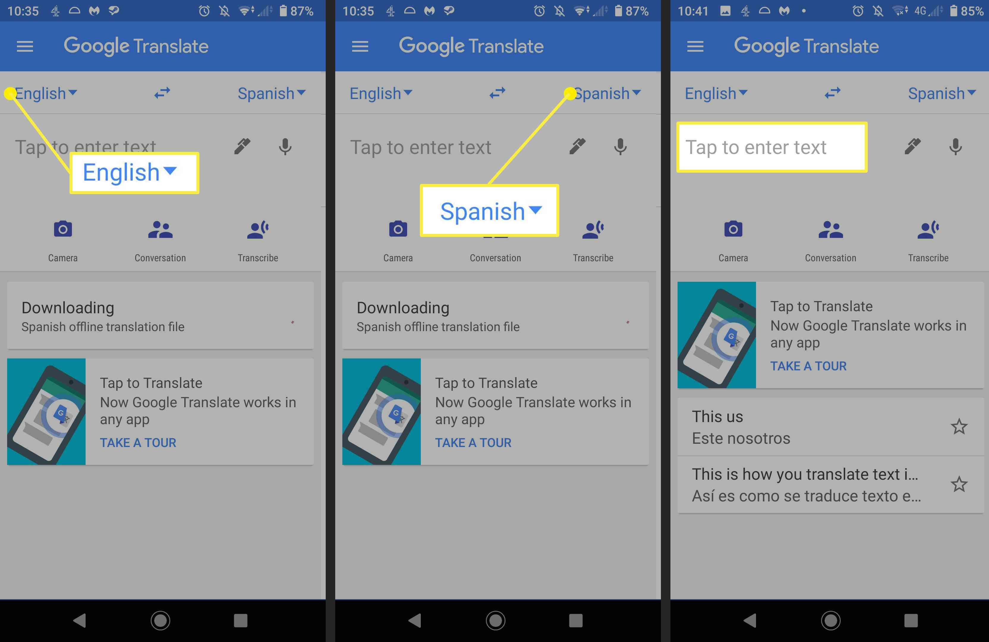 Screenshots showing how to use Google Translate.