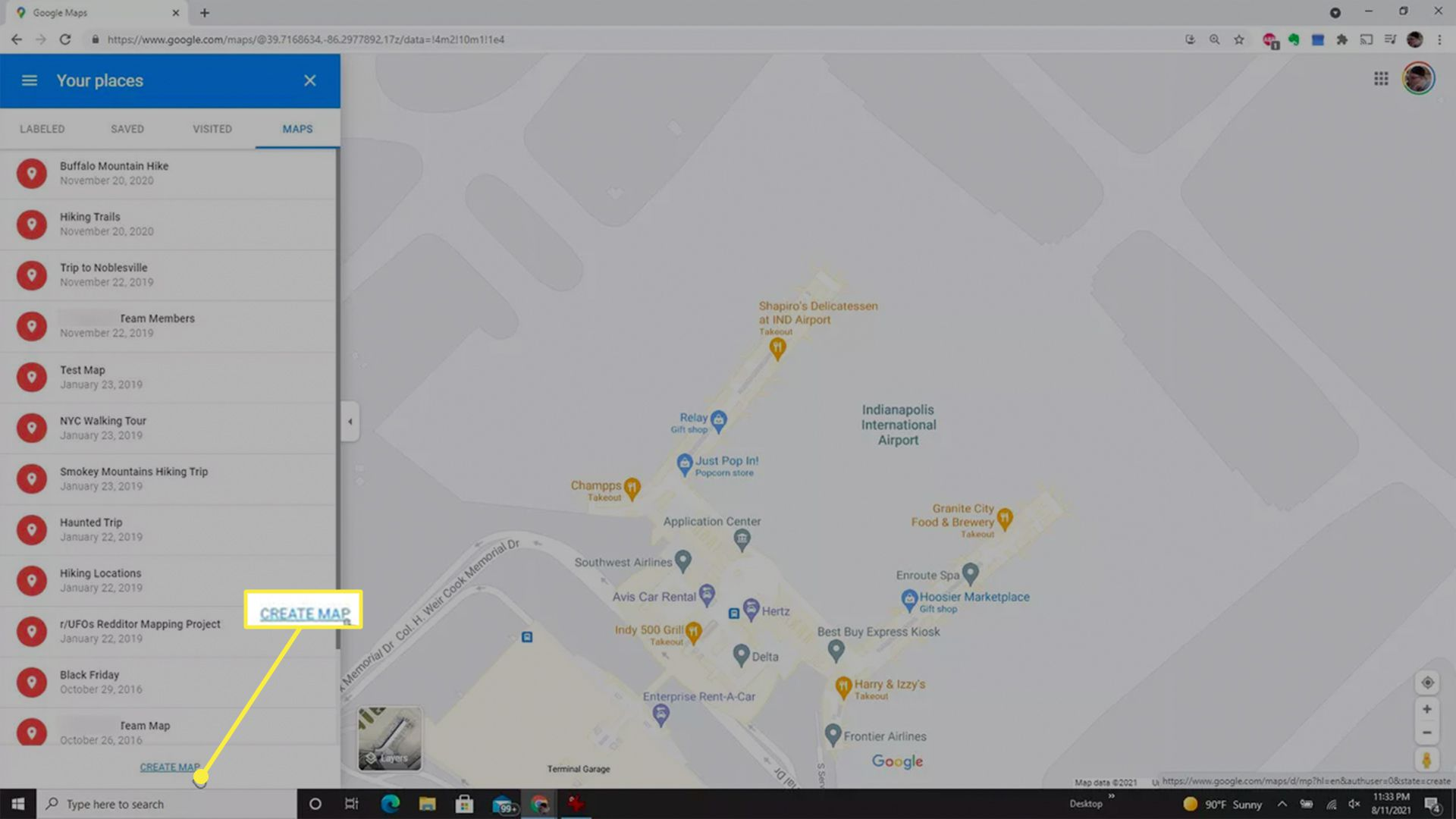 The Create Map option highlighted from Google Maps.