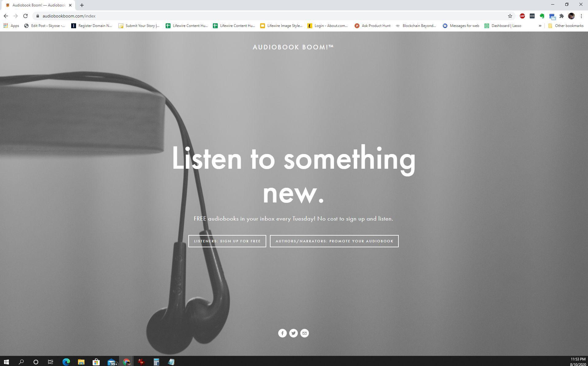 Screenshot of Audiobook Boom free audiobooks for reviews