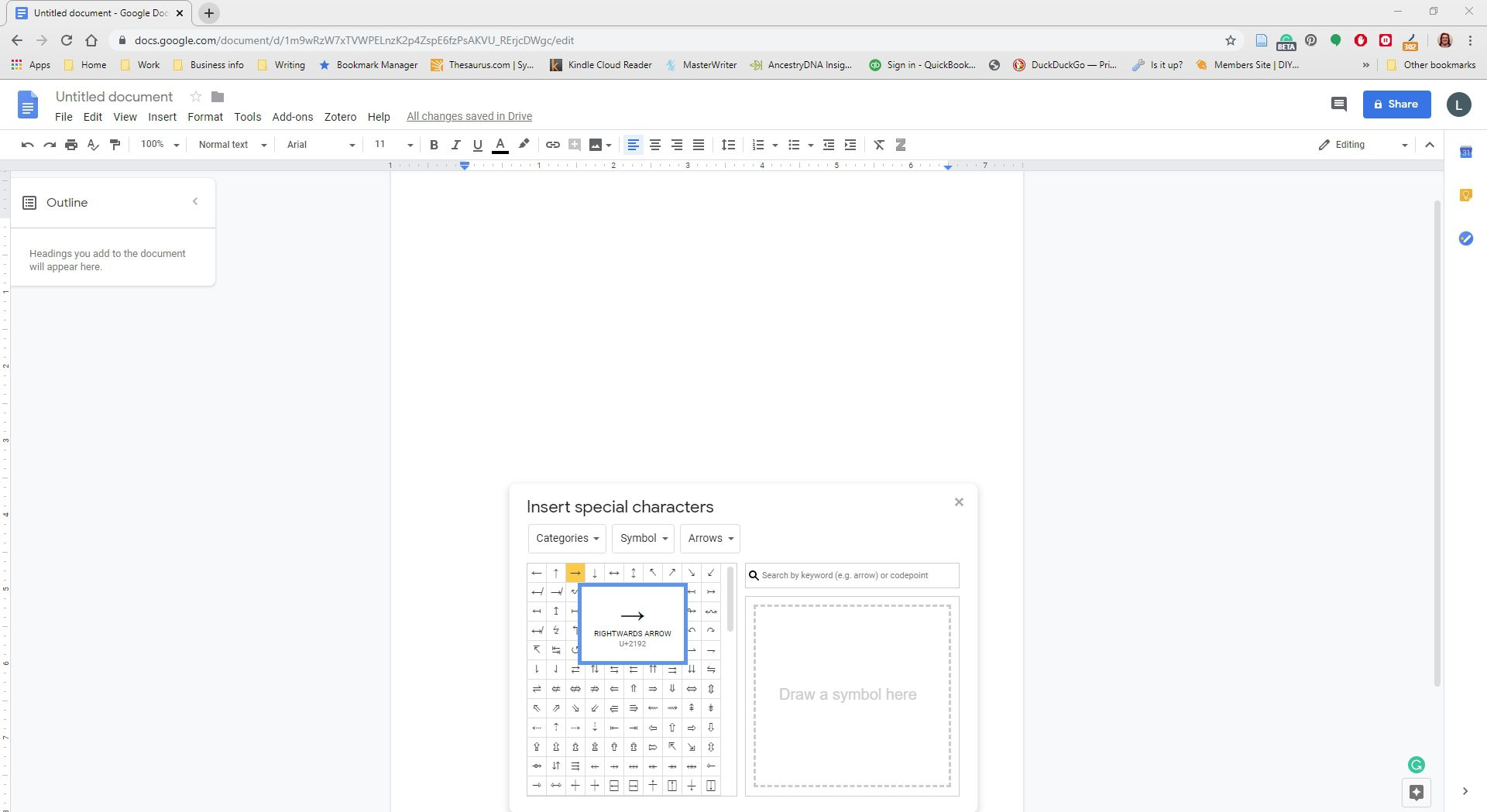 Selecting a character to insert into Google Docs.