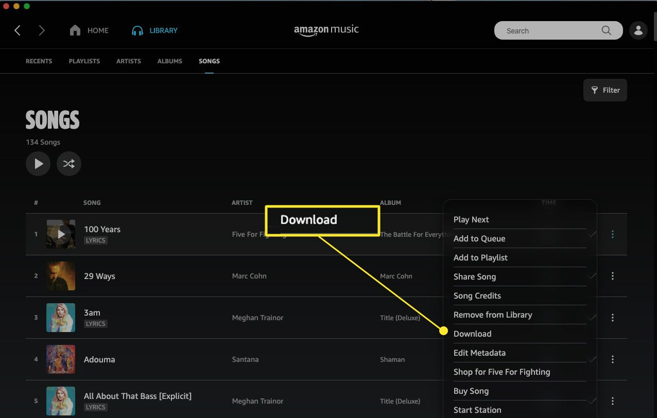 Amazon Music song with Download annotated