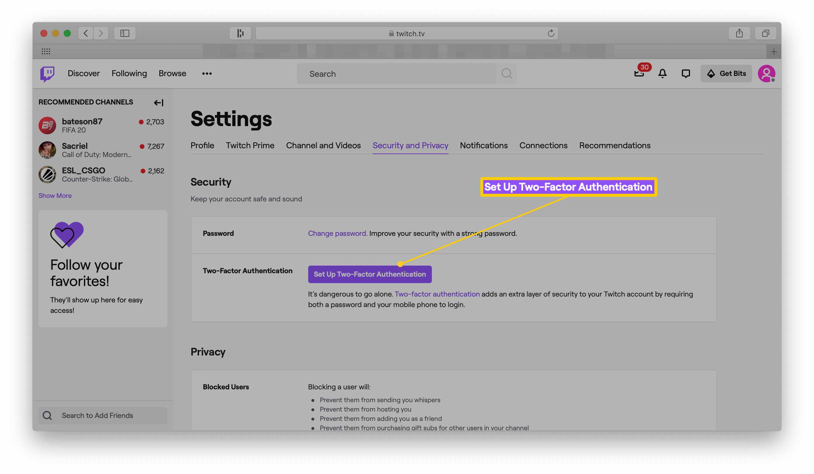 Twitch website with Settings open and Set Up Two-Factor Authentication highlighted