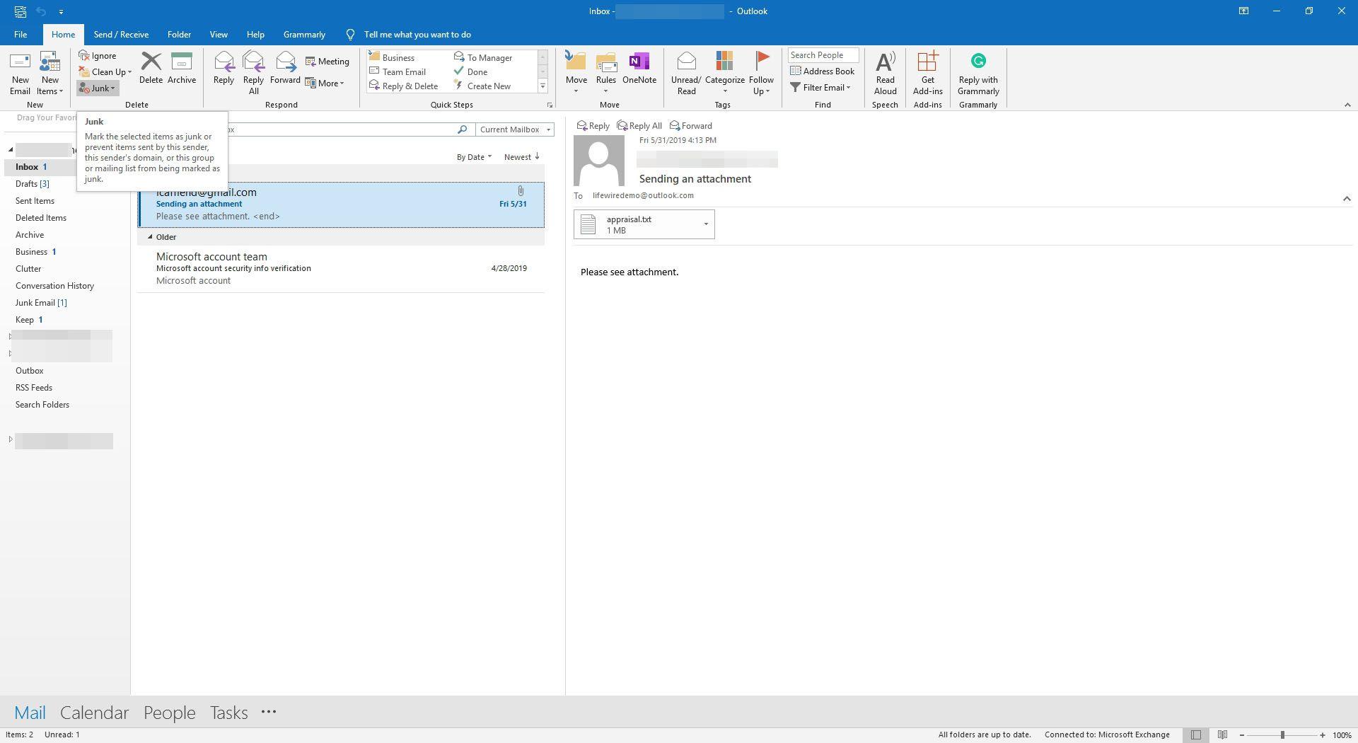 Selecting Junk in Outlook.