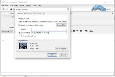 Inserting an inline image in Thunderbird