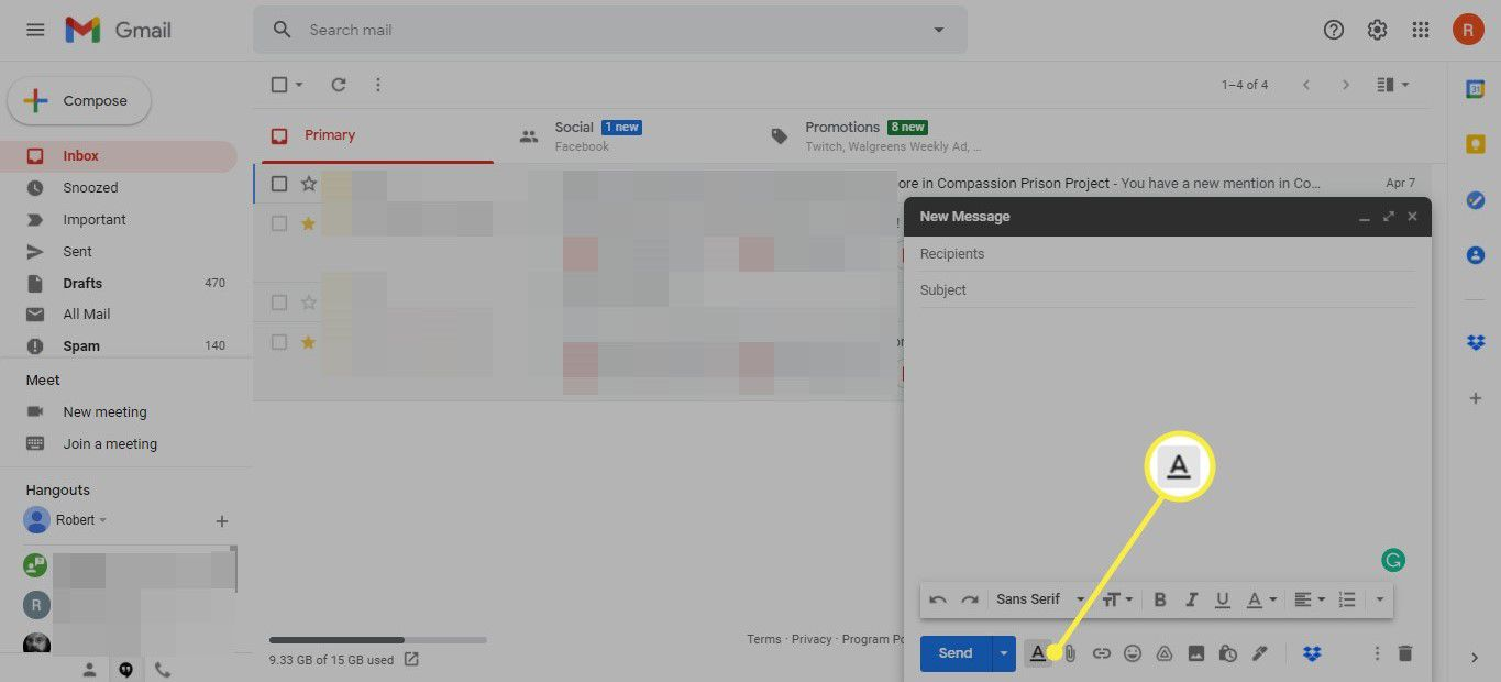 Formatting options icon in Gmail message window