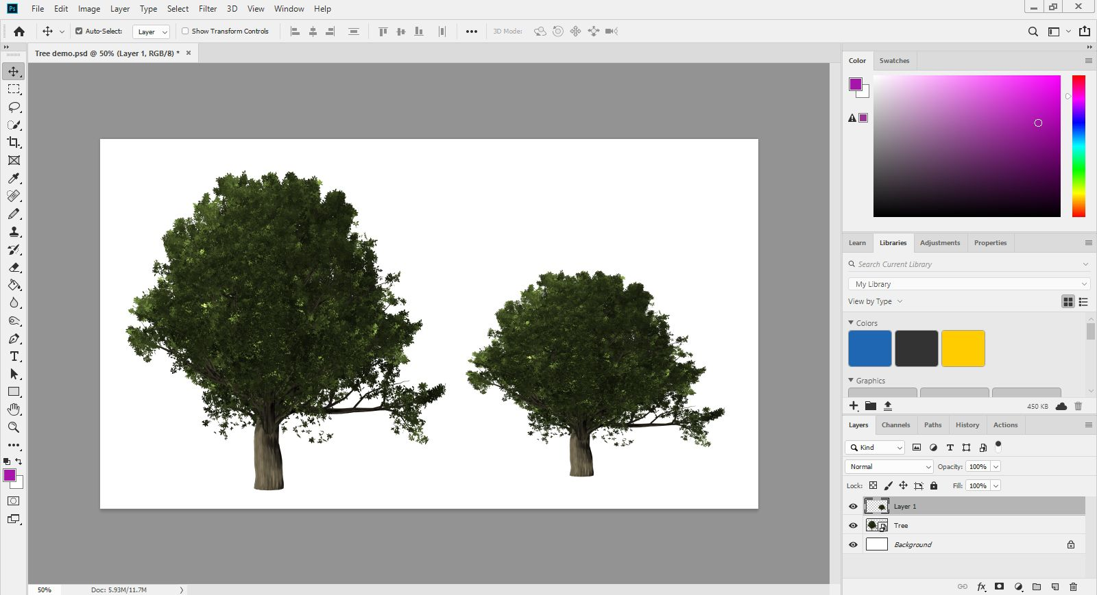 A duplicated tree smart object in Photoshop.