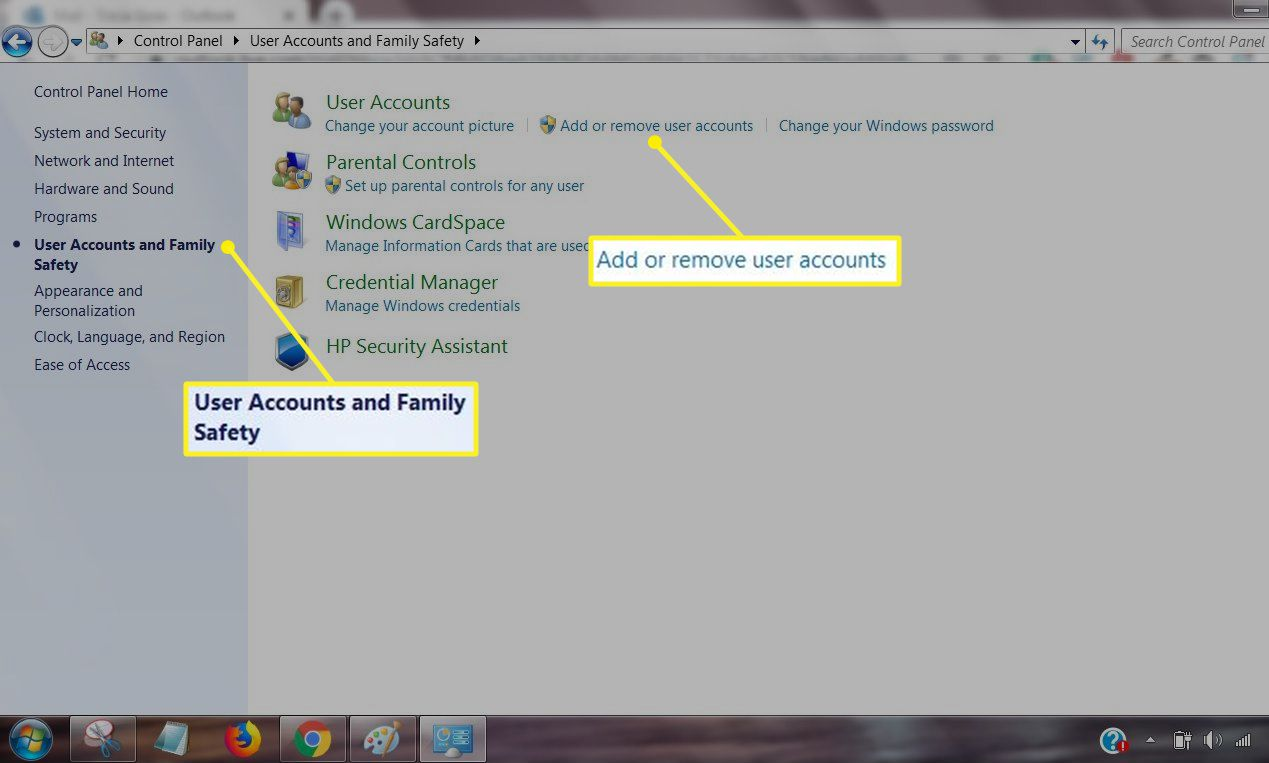 User Accounts and Family Safety section of Control Panel with Add or remove user accounts selected