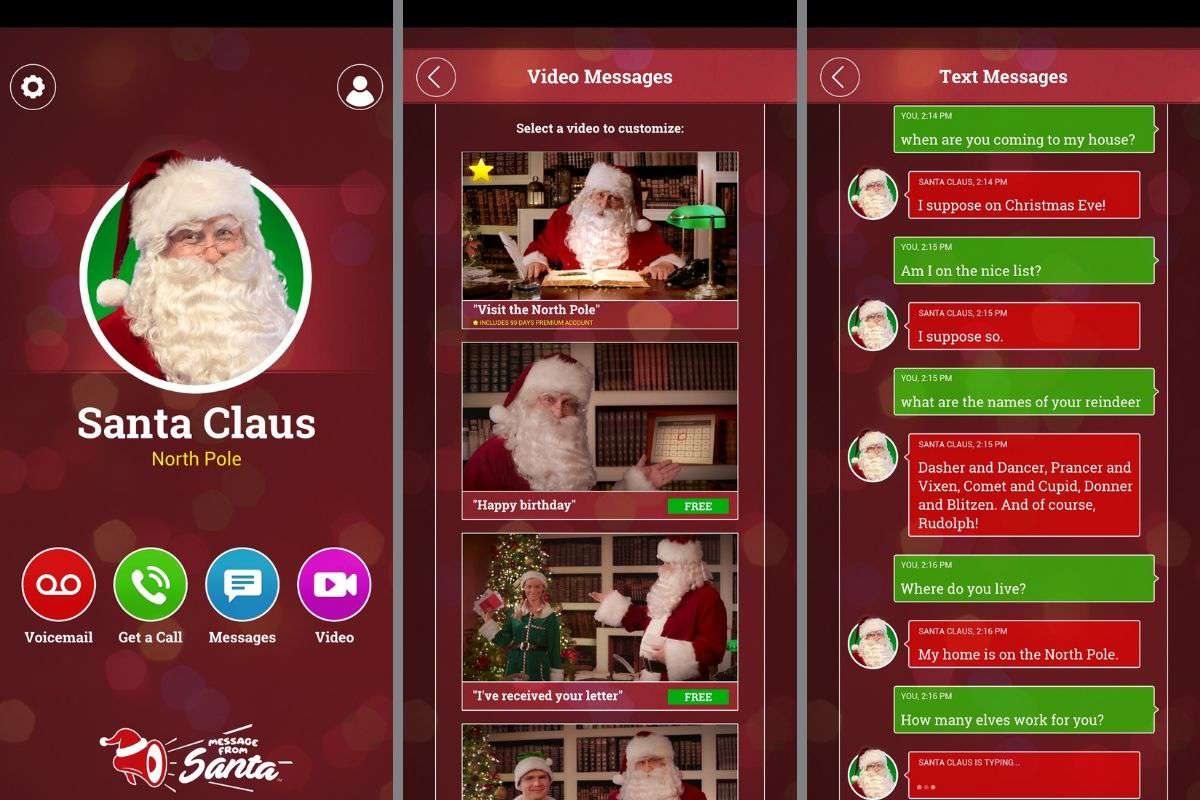 Message from Santa app on Android device