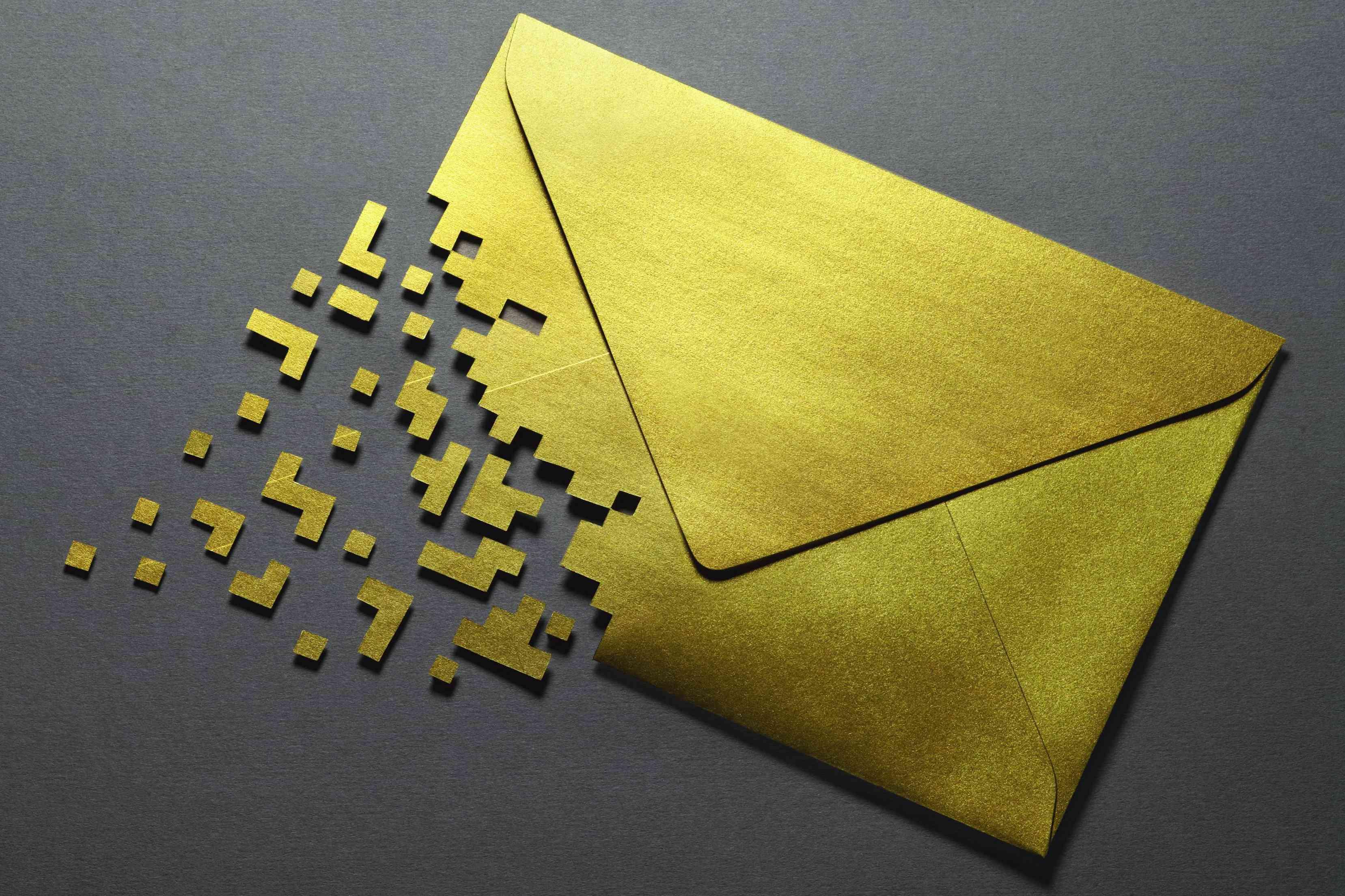 Half pixilated envelope representing email.