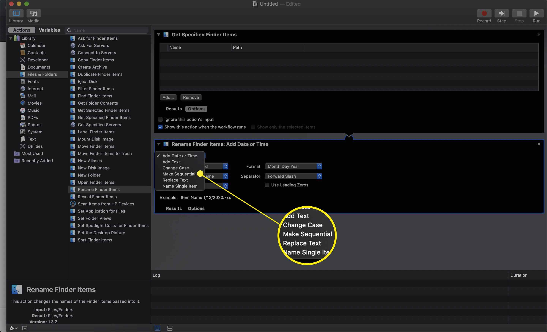 Add Date or Time dropdown menu in Automator