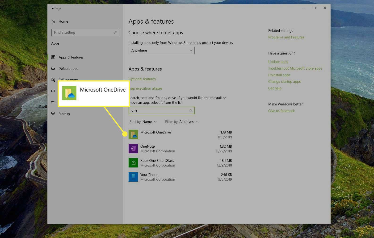 Microsoft OneDrive in Apps & Features