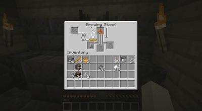 Brewing a Mundane Potion in Minecraft.