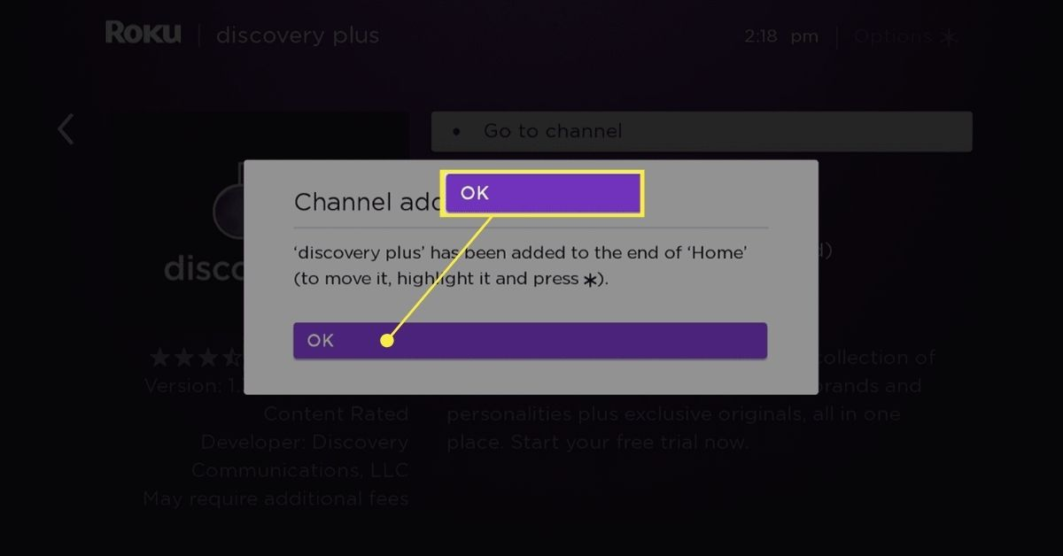 OK button on Roku channel added message.