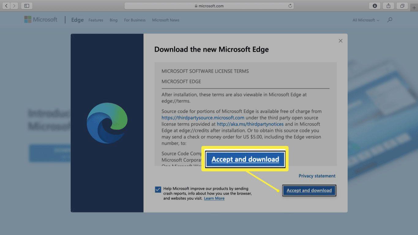 A screenshot of Microsoft Edge license terms on Mac.