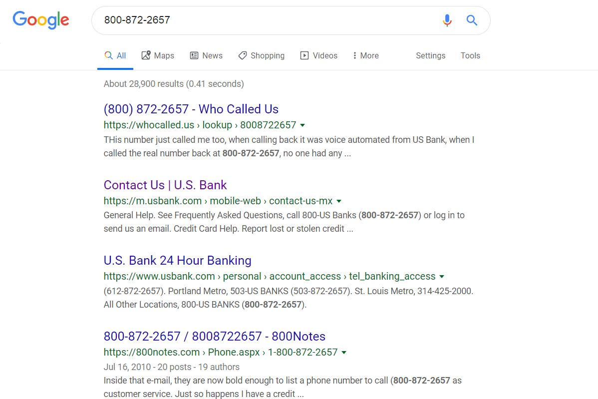 800 number reverse lookup on Google.com