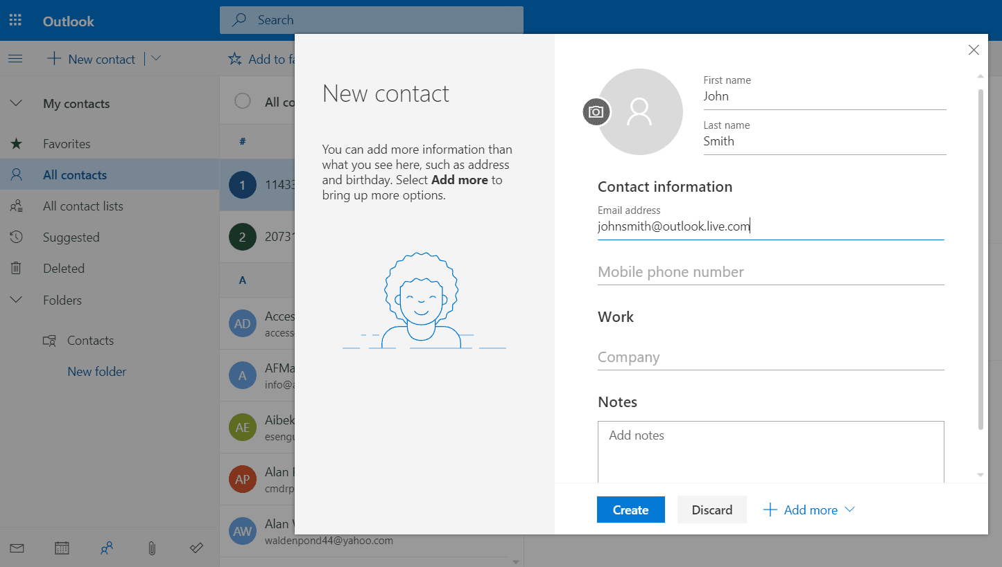 Screenshot of adding a contact in Outlook Online