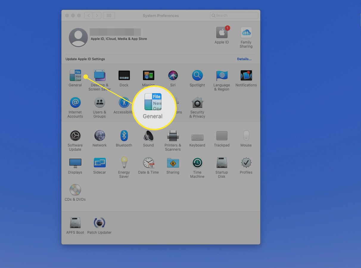 General highlighted on the System Preferences window