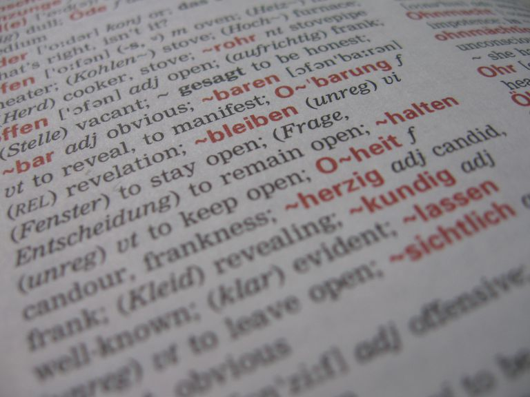 close up of words on dictionary page