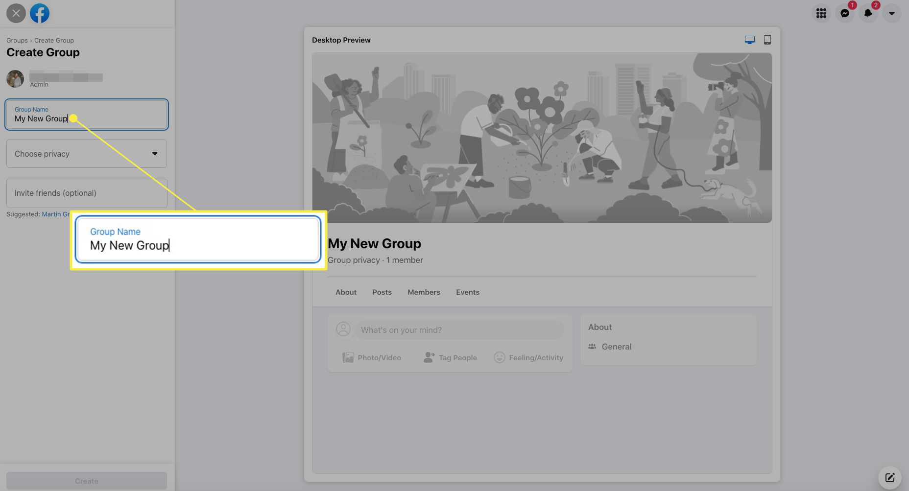 Facebook group creation with the group name field highlighted