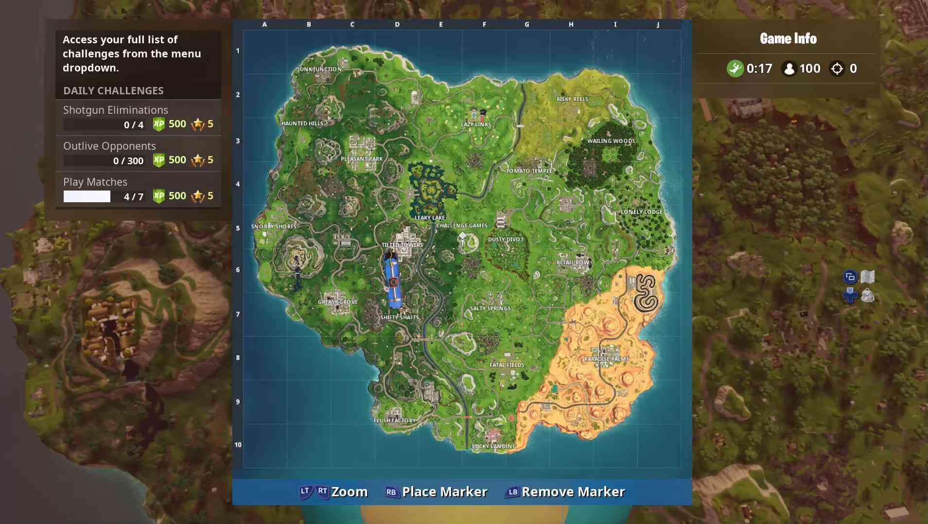 A screenshot of the Fortnite map.