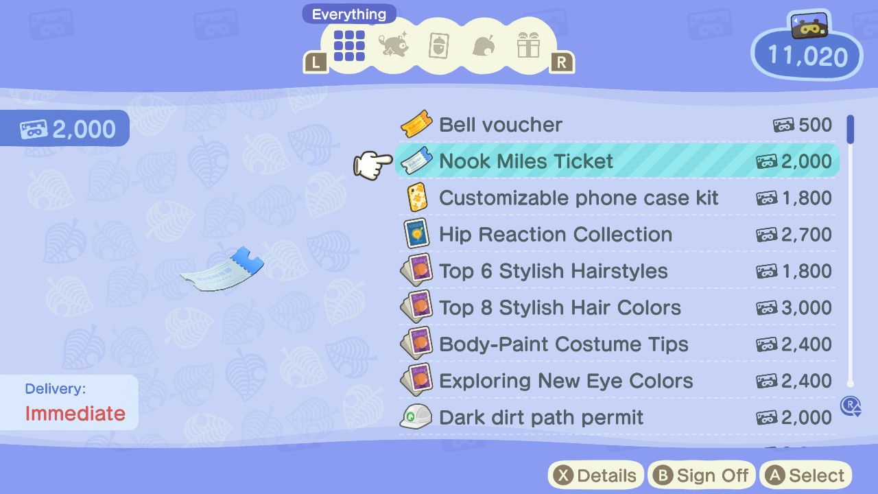 Animal Crossing character buys Nook Miles Ticket