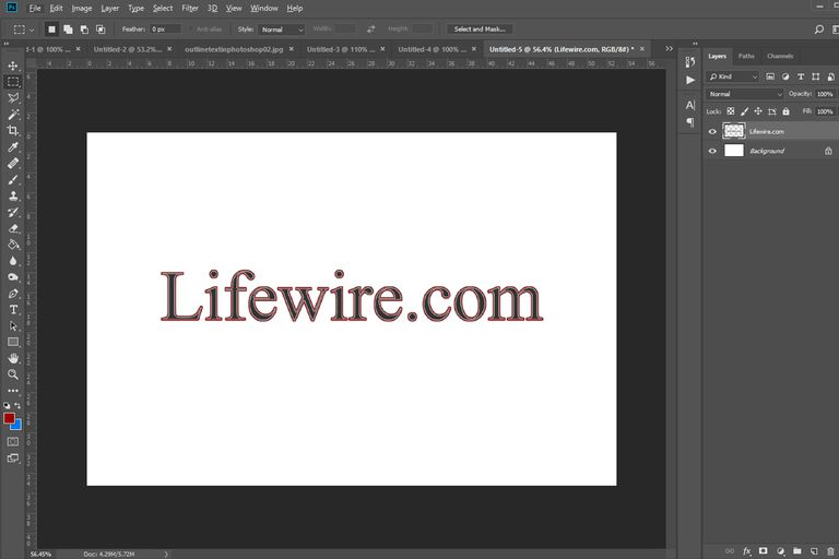 screenshot of text with an outline in Photoshop
