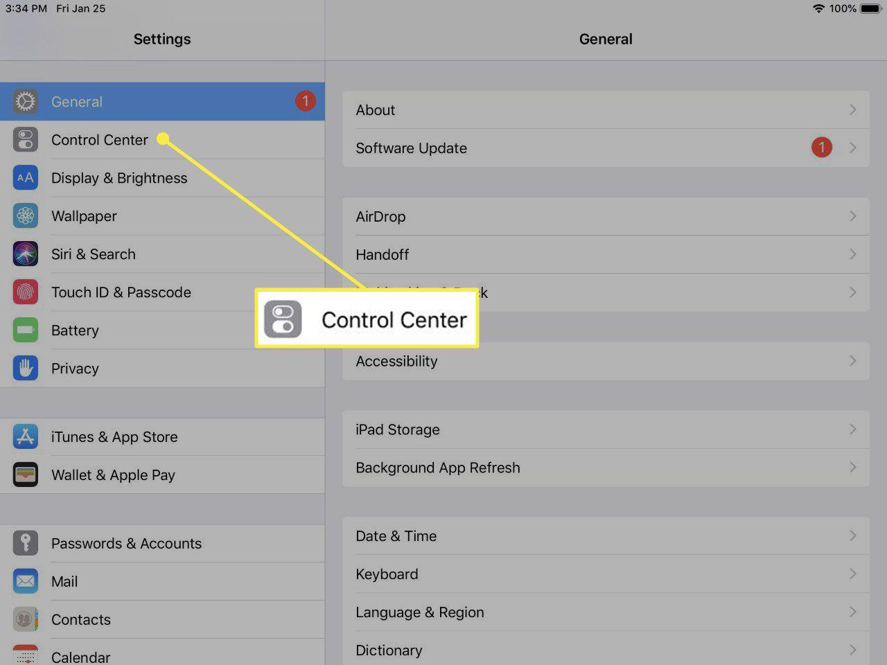 the main iPad Settings screen.