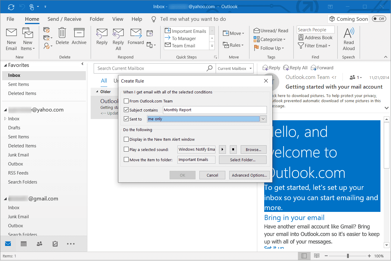 Selecting incoming email filters in Outlook