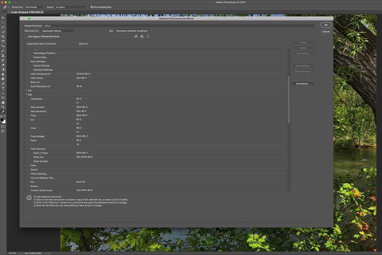 The Photoshop Keyboard Shortcuts menu is shown.