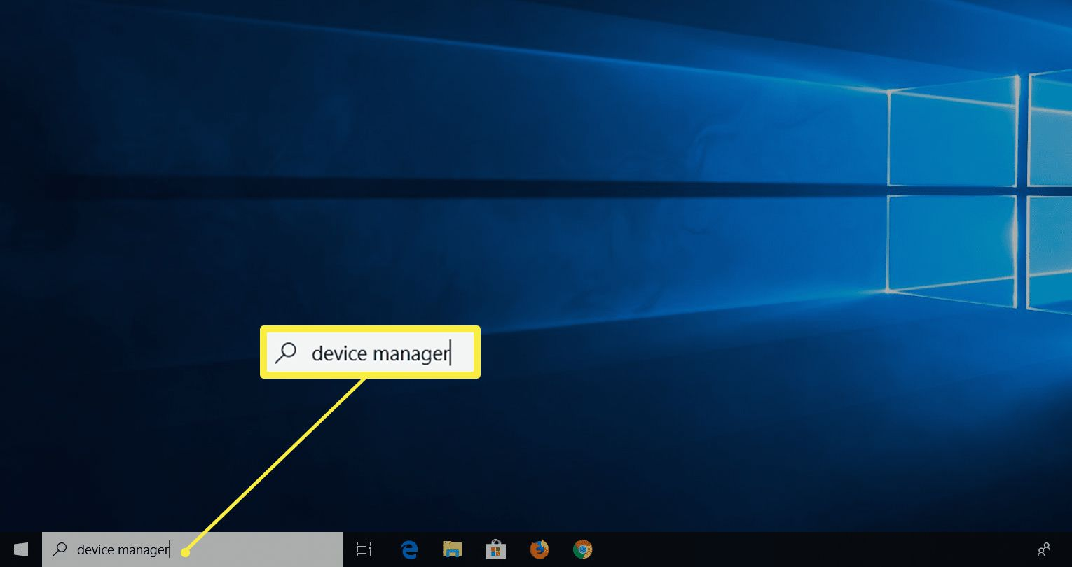Device Manager typed in search field