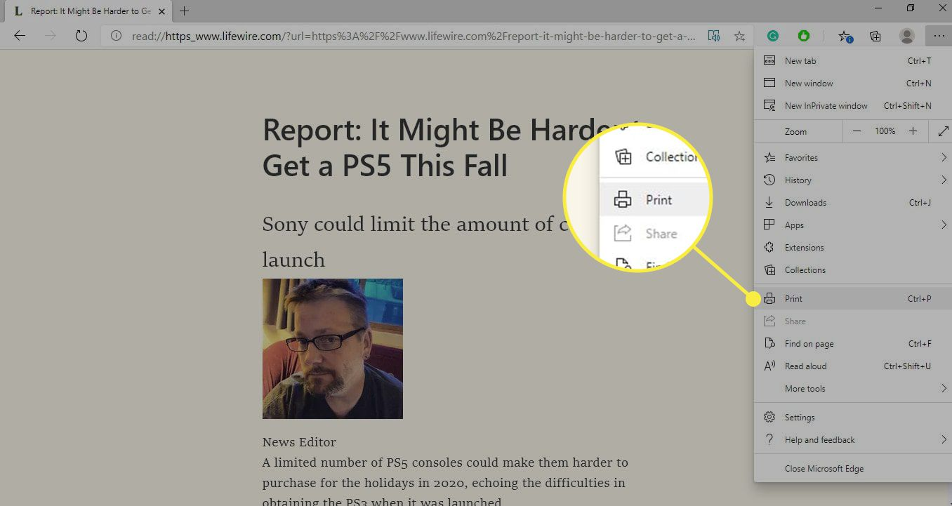 The Print command in Edge