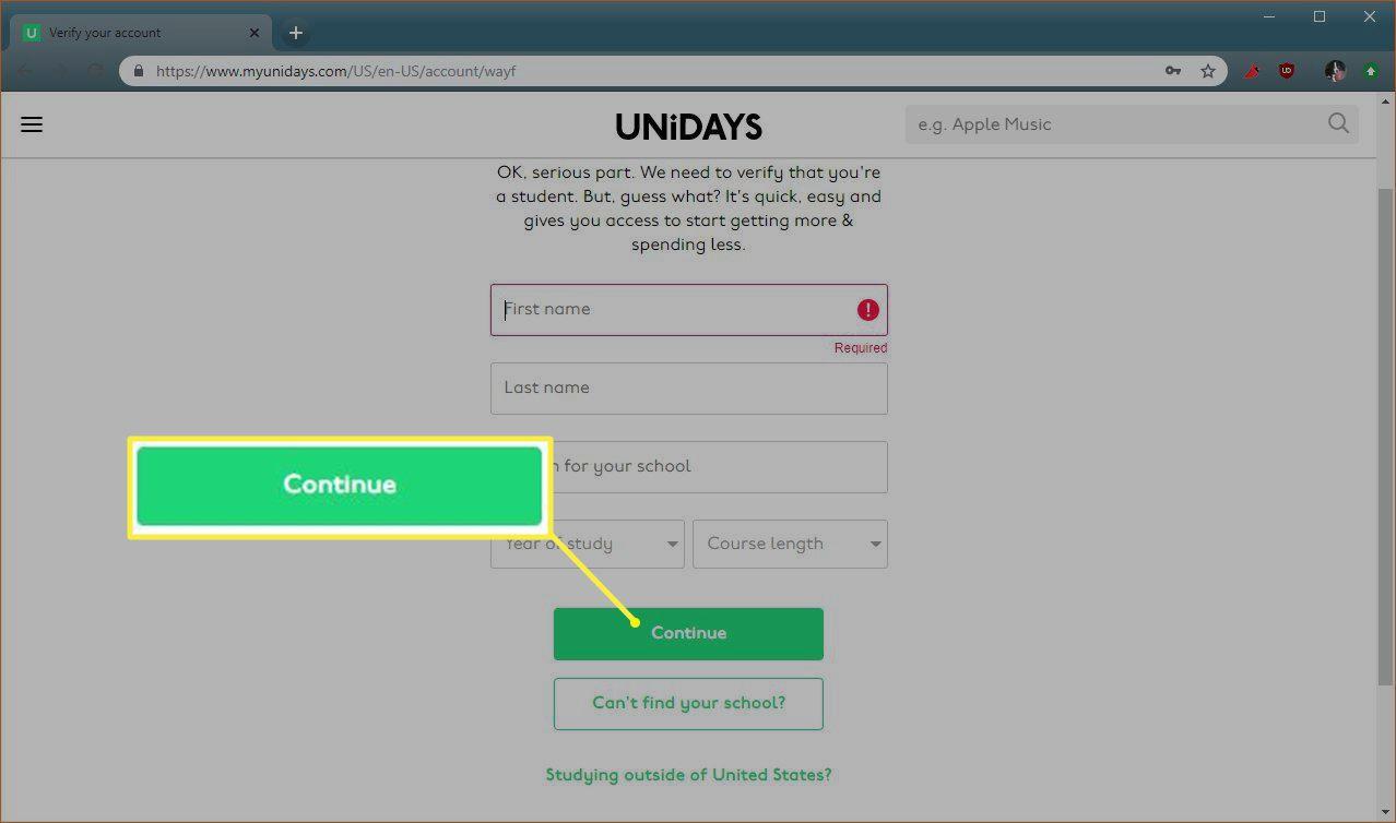 Unidays Continue button