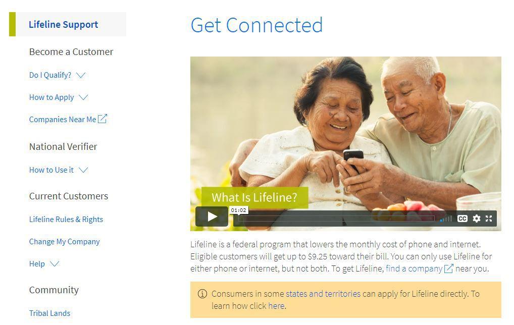 A screenshot of the Lifeline website.