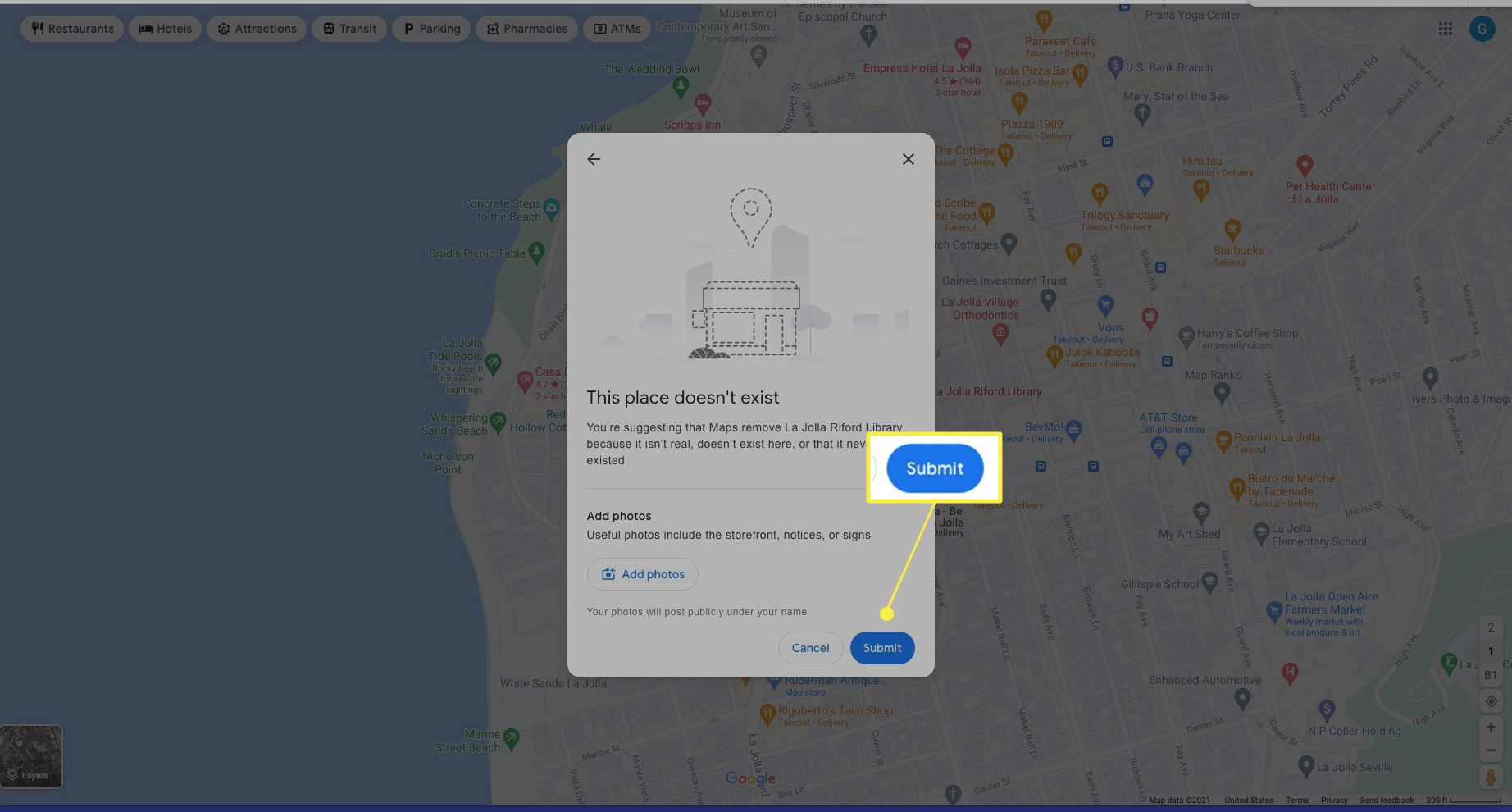 Google Maps edit window with Submit highlighted