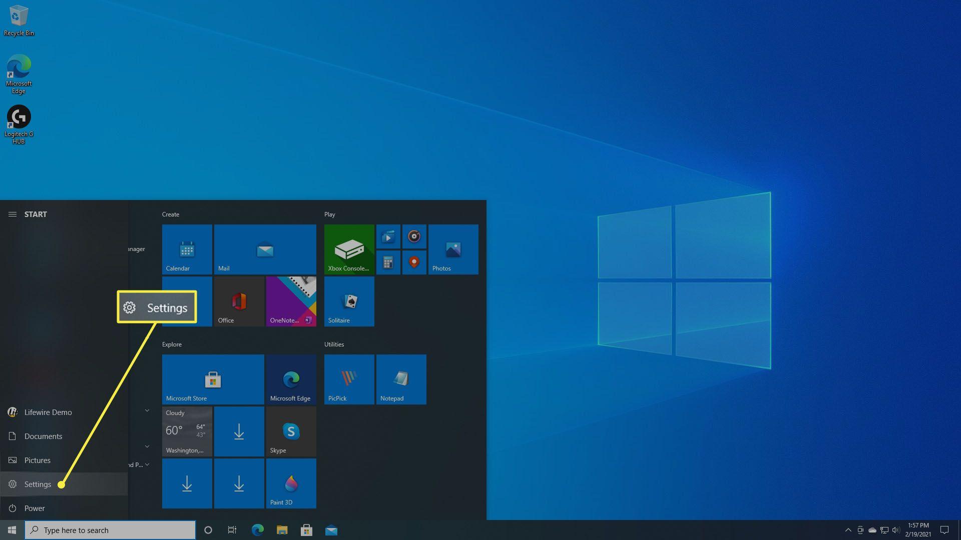Selecting Settings within Windows 10 Start Menu.