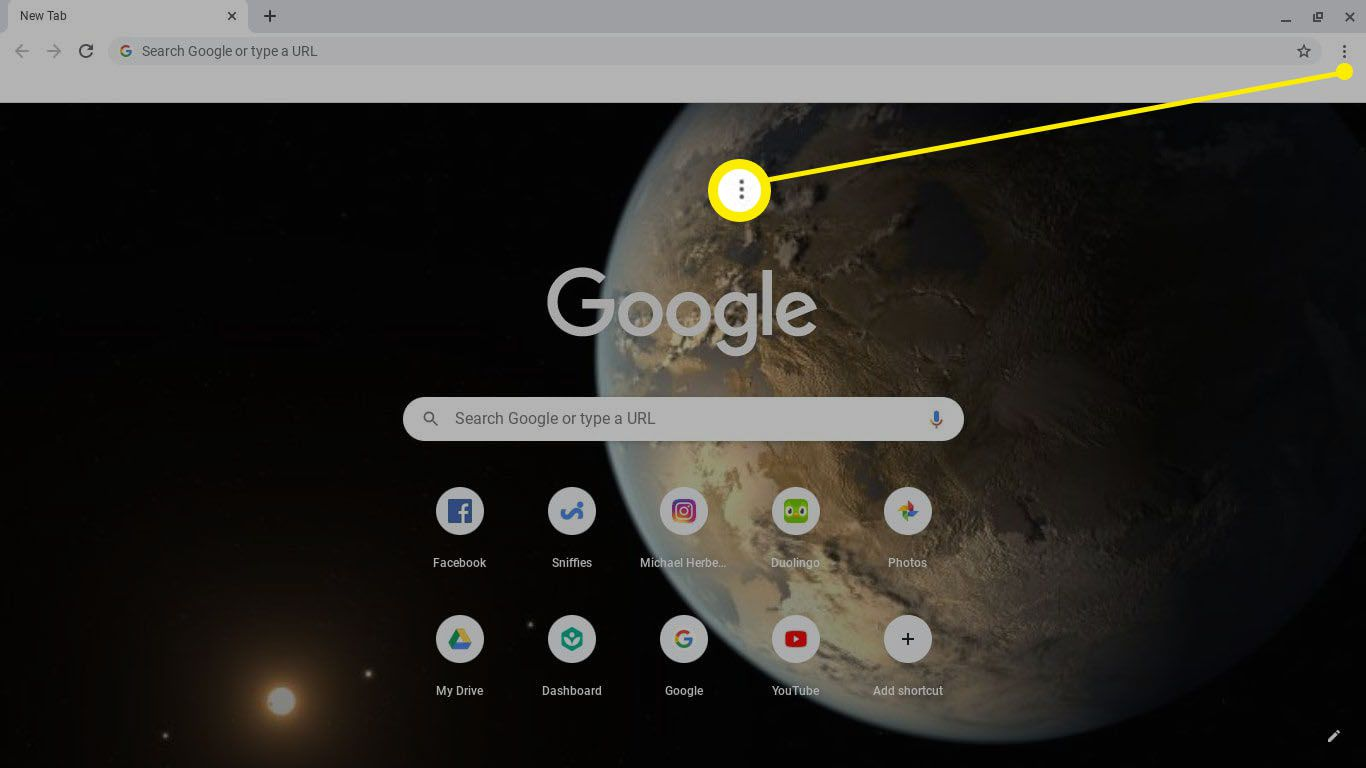 Open Google Chrome and select the three dots in the top-right corner.