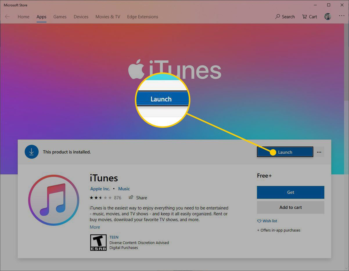 iTunes in the Microsoft Store with the Launch button highlighted