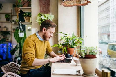 A man sitting at a desk looking at his laptop, surrounded by houseplants