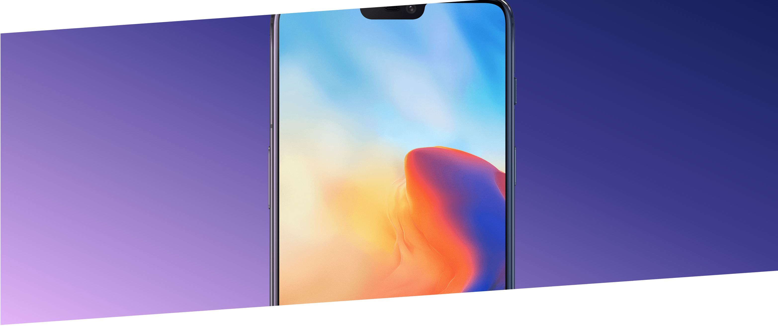 OnePlus 6 smartphone with a colorful screen on a purple background