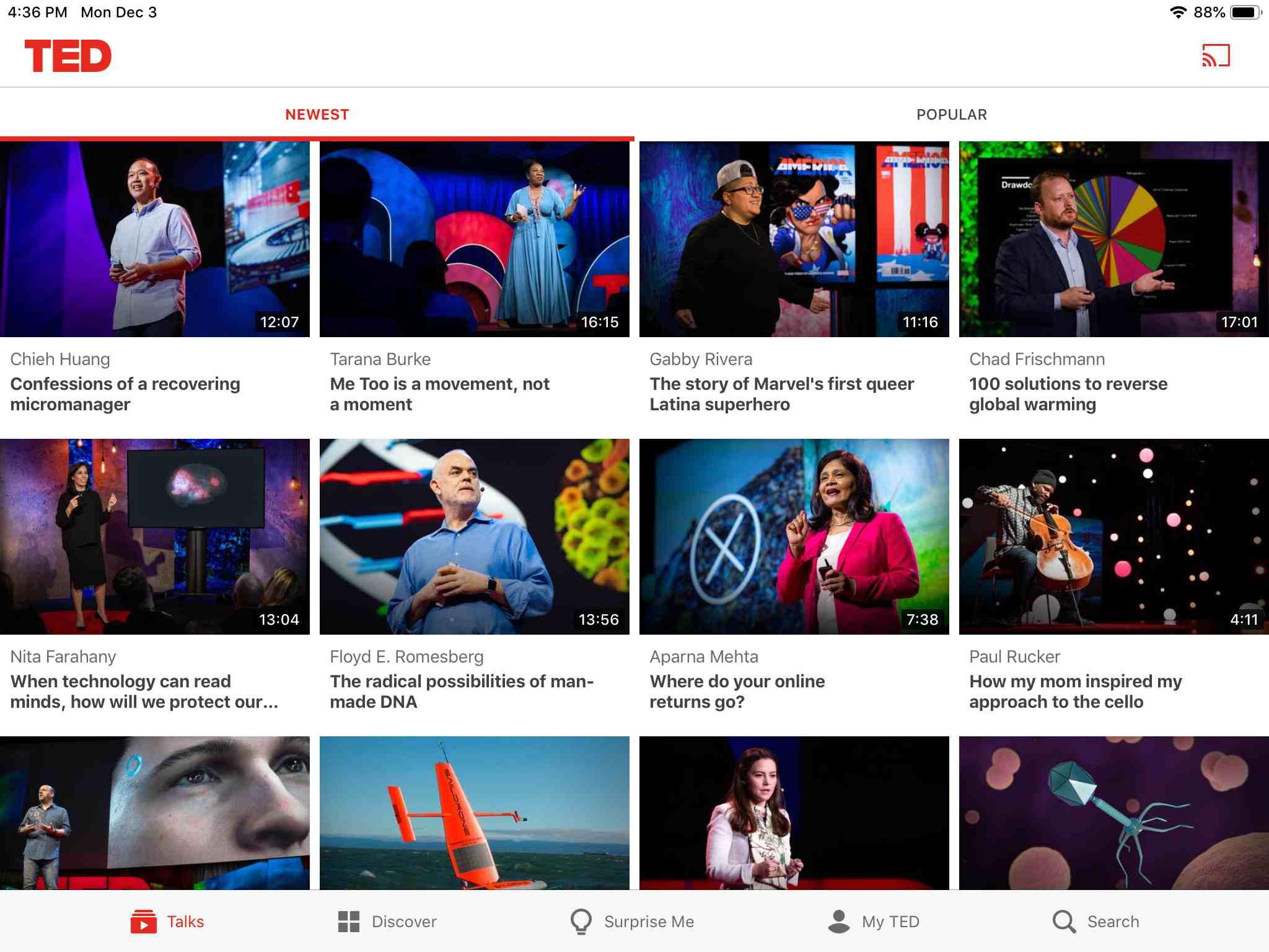 TED app screen on iPad