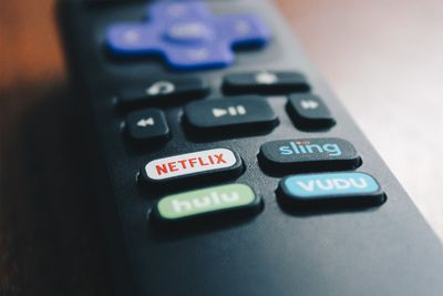 Buttons on the Roku TV remote.
