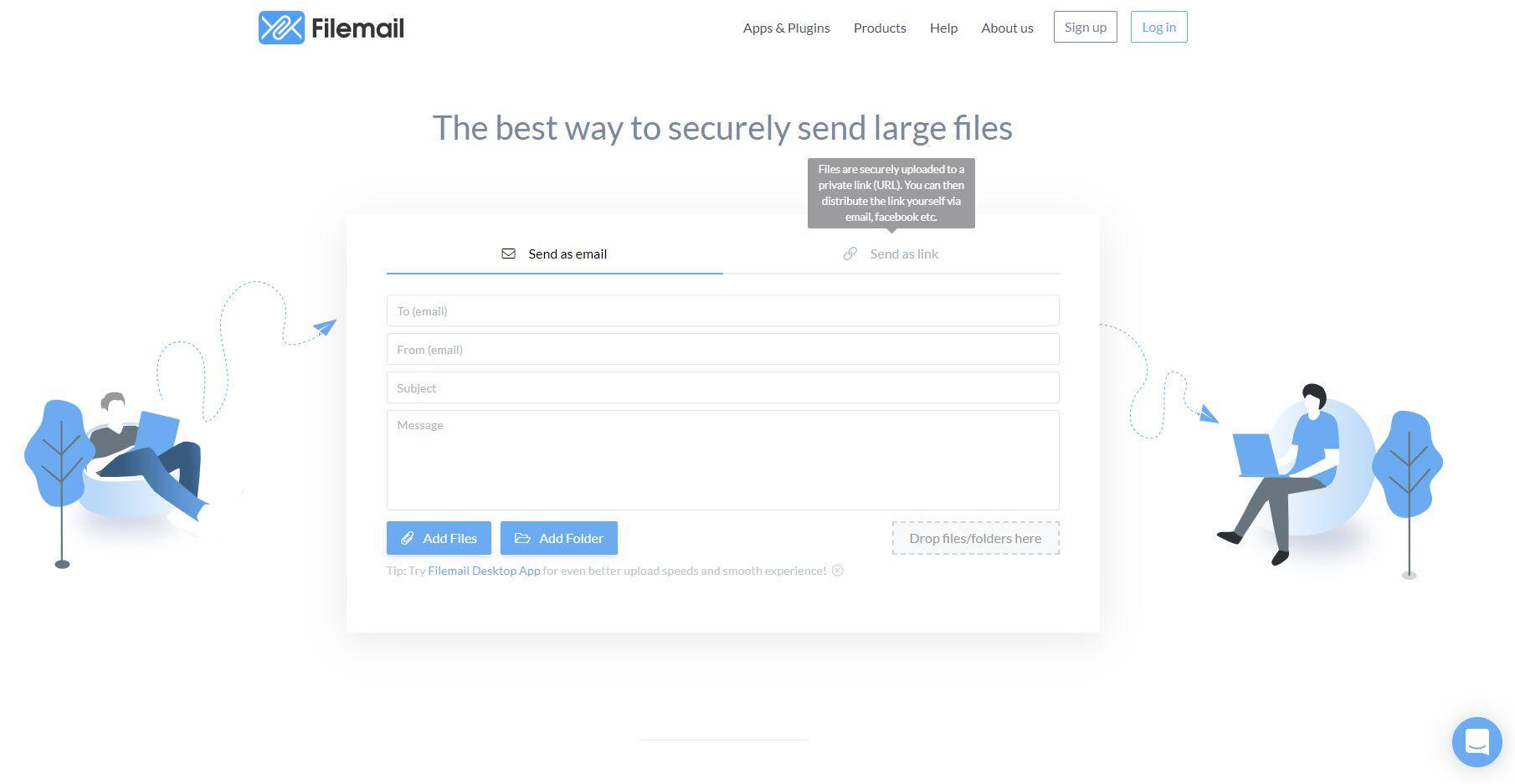 A screenshot of the Filemail website.