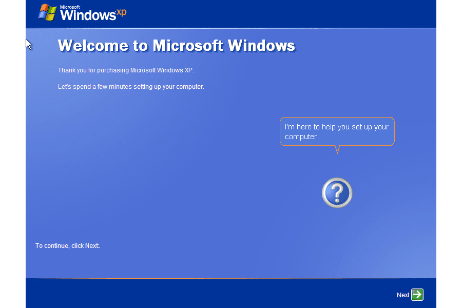 Screenshot of the introduction to the Windows XP Setup Wizard