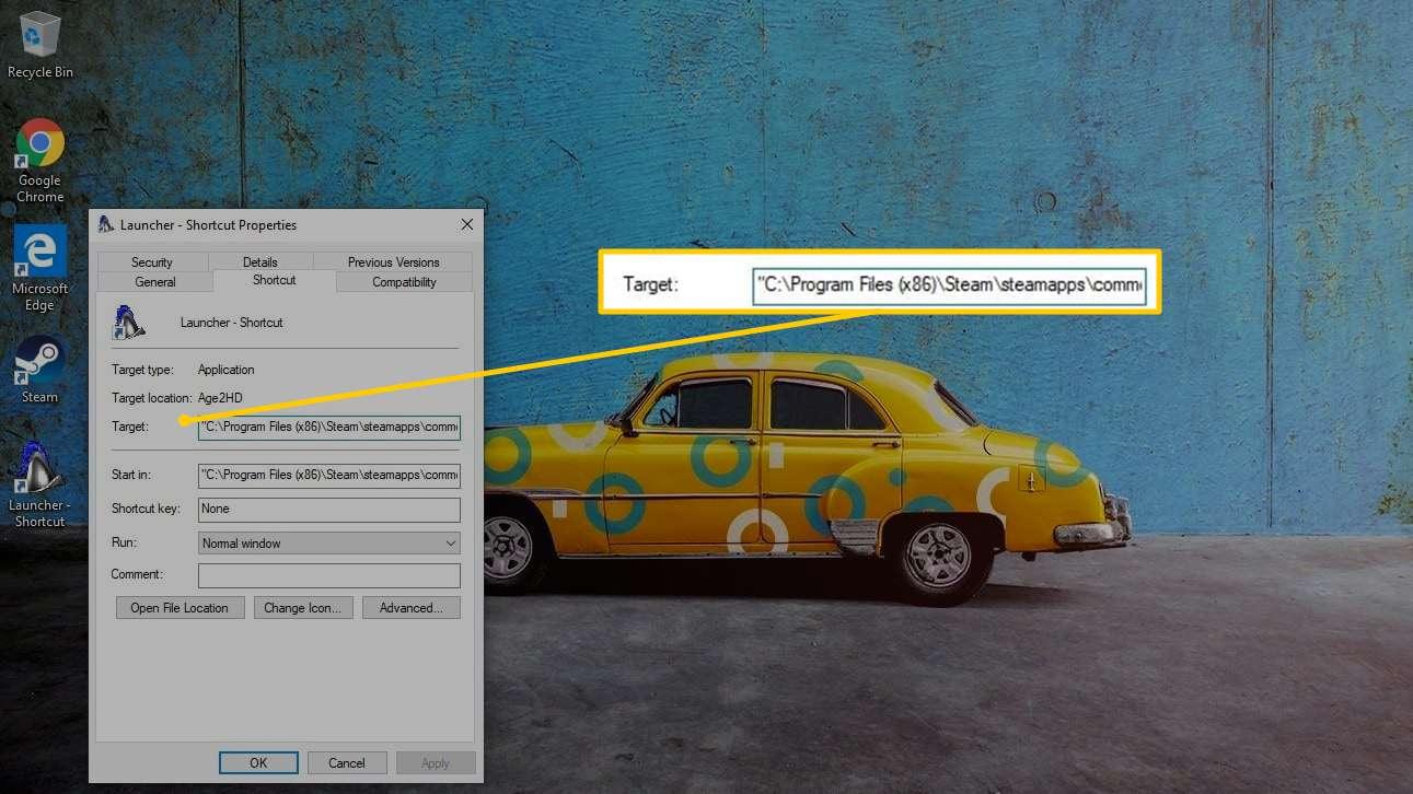 Target field in Shortcut Properties window