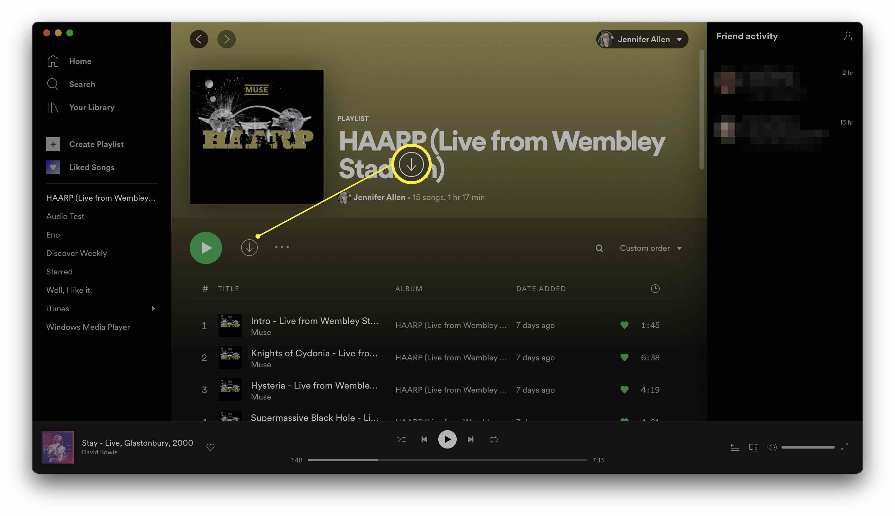 Spotify with a playlist open and the download button highlighted