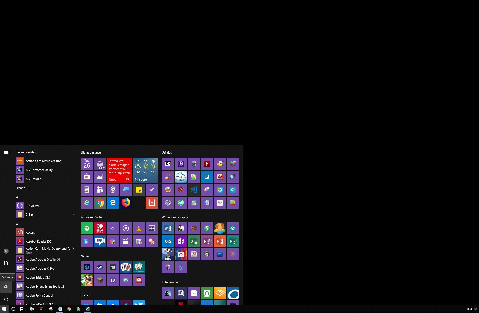 Opening up the app menu in Windows 10.