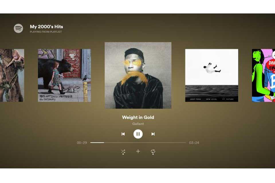 Screenshot of the Spotify Samsung TV app