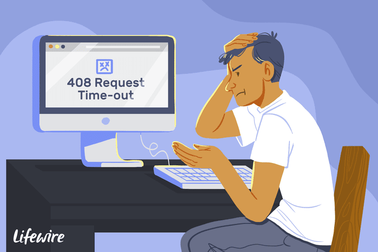 Illustration of a frustrated person looking at a 408 Request Time-out on a computer