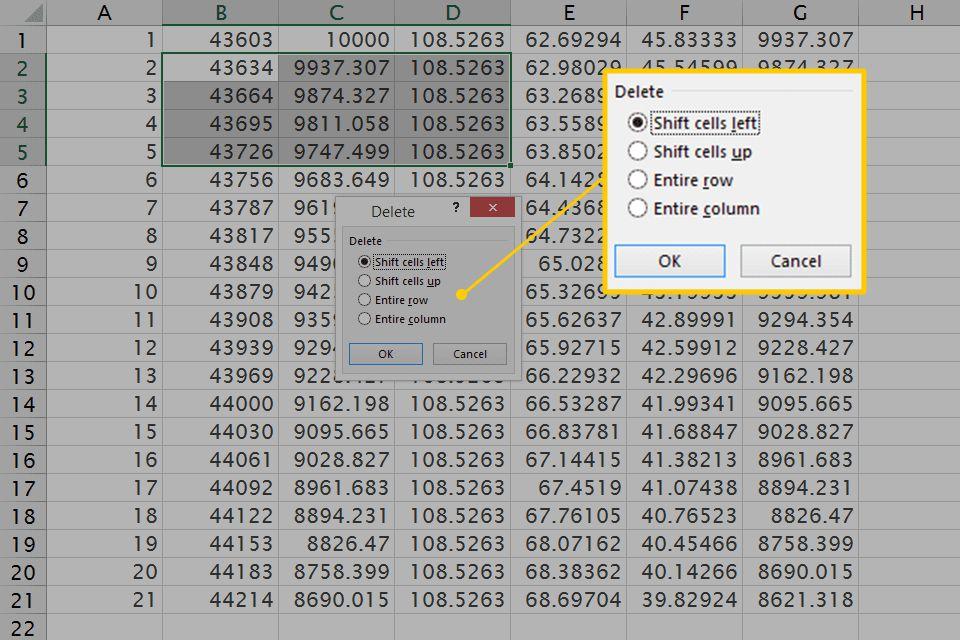 Delete options in Excel